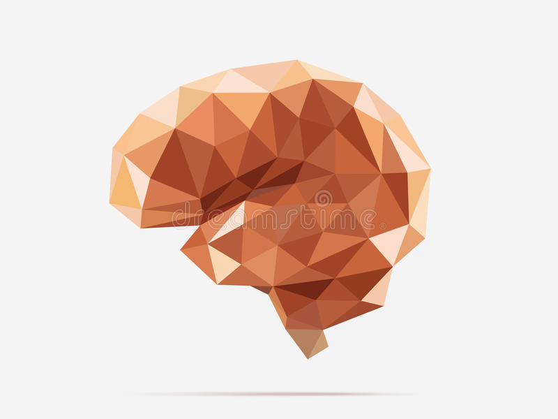 Brain low poly. Illustration of human brain with faceted low poly geometry effect, vector vector illustration