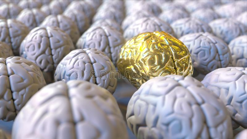 Brain made of gold among the ordinary ones. Genius, mastermind, talent or education conceptual 3D rendering stock photography