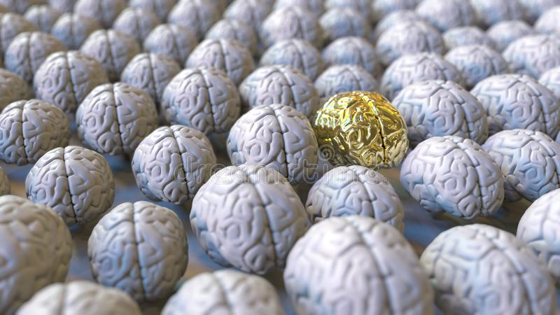 Brain made of gold among the usual ones. Genius, mastermind, talent or education conceptual 3D rendering. Brain made of gold among usual ones. Genius vector illustration