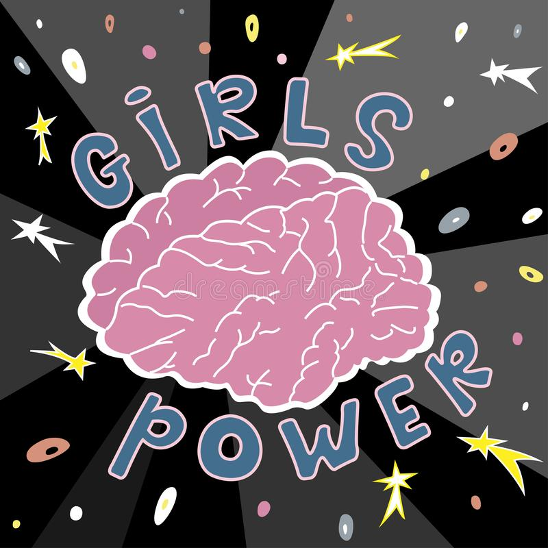 The brain is the main power of girls. vector illustration