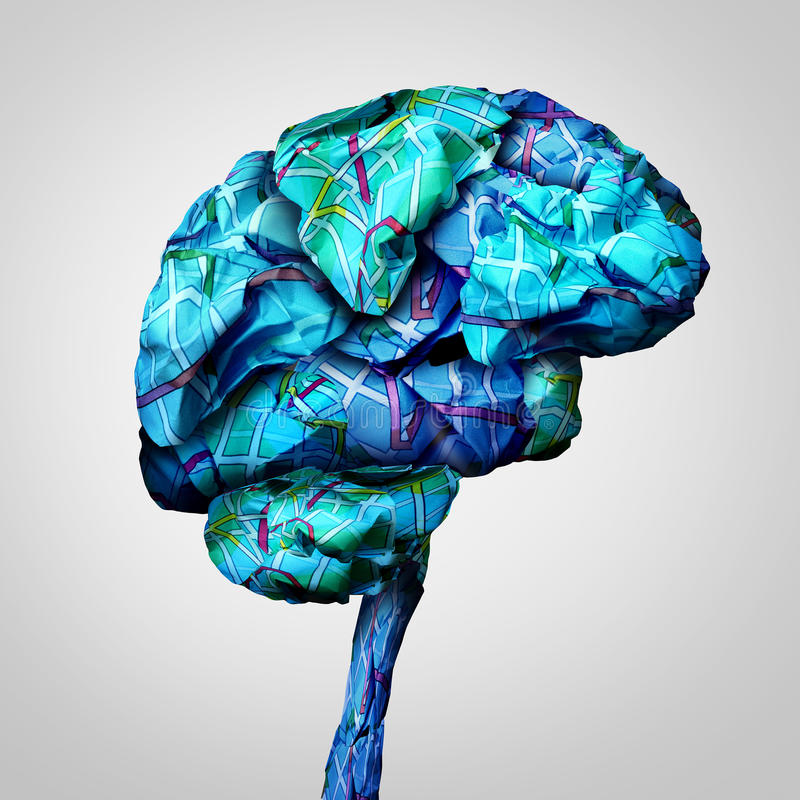 Brain Mapping. Mental health concept and psychology challenge symbol or brainstorming icon as a group of crumpled paper road maps shaped as a human mind in a 3D stock illustration
