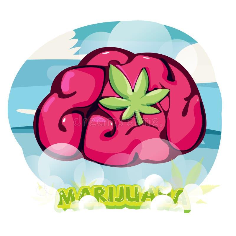 Brain with Marijuana Leaf. effect of marijuana high. healing by cannabis - vector illustration stock illustration
