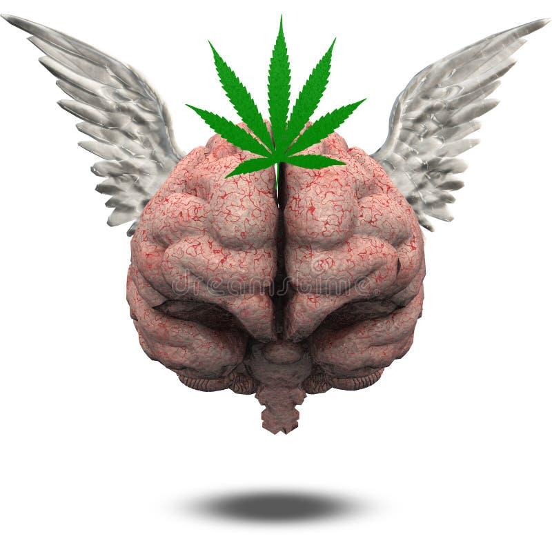 Brain Marijuana Leaf voado ilustração do vetor