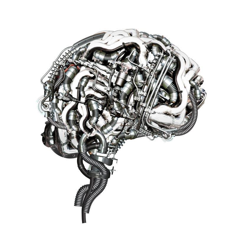 Brain. An Mechanical super brain in cross section stock image