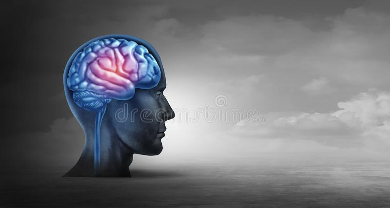 Brain Memory And Psychology Concept. As a neurology symbol for alzheimer disease and parkinson's or psychological and psychiatric depression or migraine stock illustration