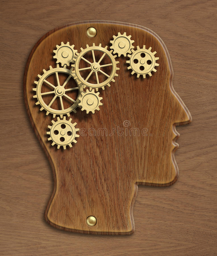 Brain model made from gold metal gears and cogs stock image