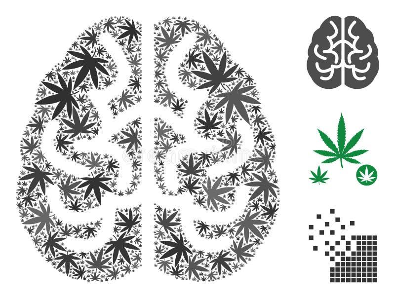 Brain Mosaic di marijuana illustrazione di stock