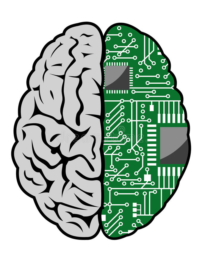 Brain and motherboard. Brain with motherboard as a computer concept royalty free illustration