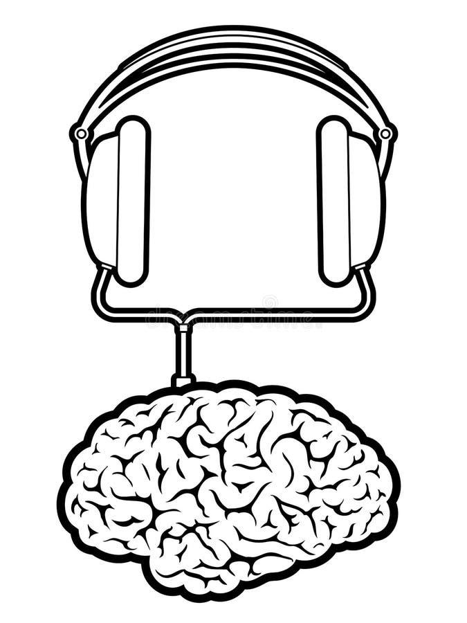 brain music player with headphones stock vector