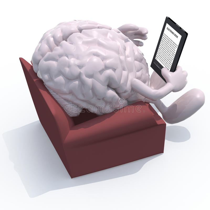 Brain organ reading a electronic book royalty free illustration