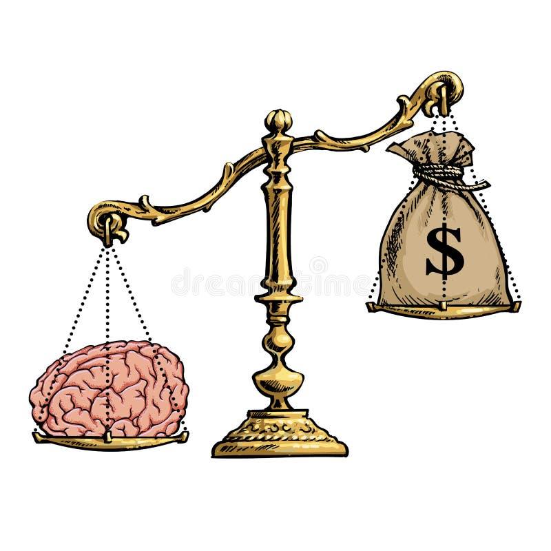 Brain overweight money on golden scales. Vector. vector illustration
