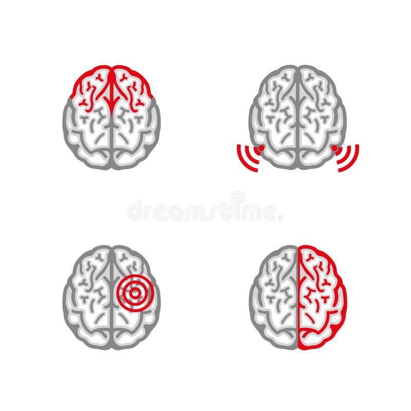 Brain Pain Icon ilustração stock