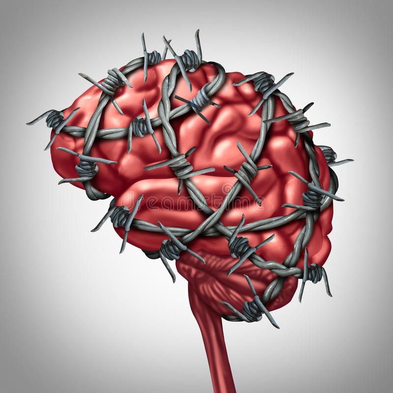 Brain Pain. Medical health care concept as a human thinking organ with barbwire or sharp barb wire fence wrapped around the anatomy as a symbol for a painful royalty free illustration
