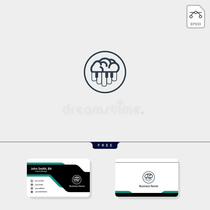 brain and piano concept logo template vector illustration, free business card design template include stock illustration