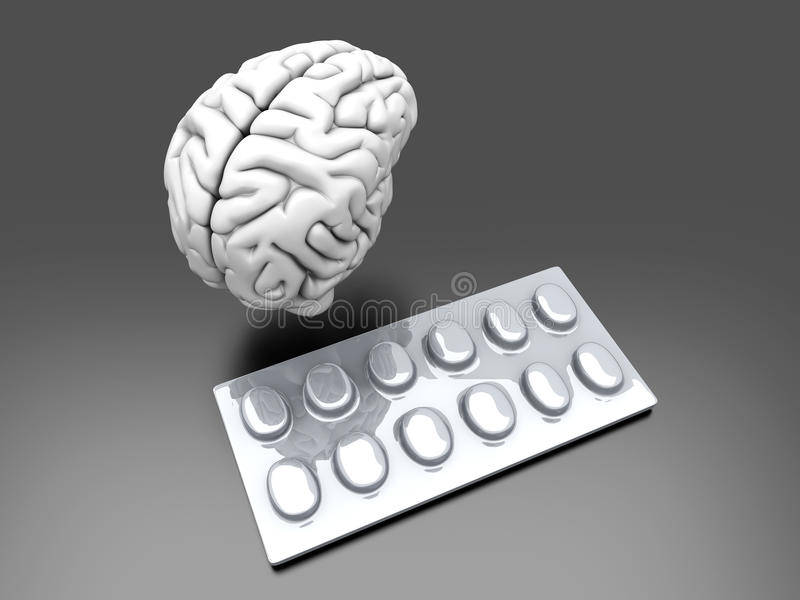 Brain Pills Stock Photos