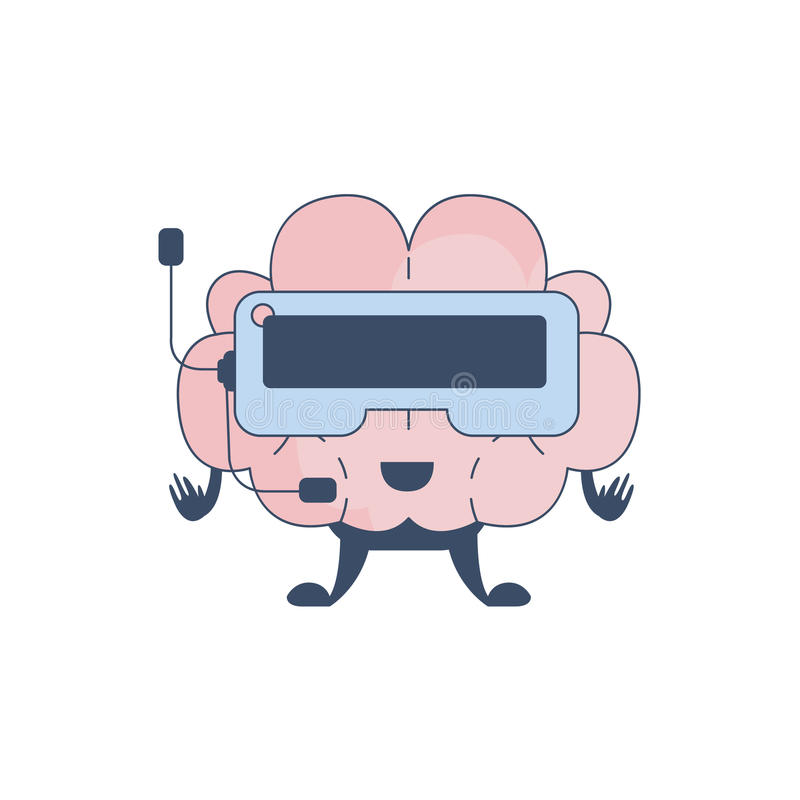 Brain Playing Virtual REality Video Games Comic Character Representing Intellect And Intellectual Activities Of Human royalty free illustration