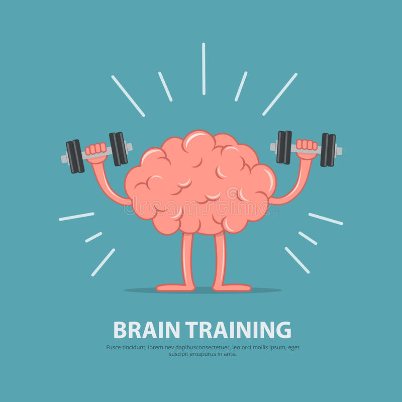 Brain power. Brain exercise. Cartoon brain character lifting dumbbells. Education concept. Vector illustration in flat style royalty free illustration