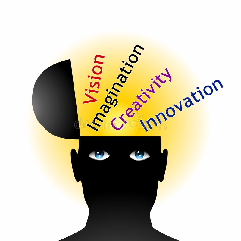 Brain Power and Creative Thinking. An illustration featuring a silhouette head with eyes and head open to reveal - vision, imagination, creativity and innovation royalty free illustration