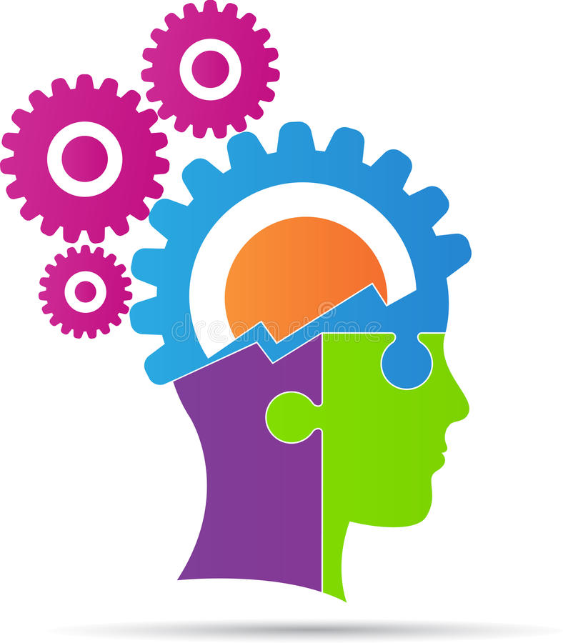 Brain power gear. A vector drawing represents brain power gear design vector illustration