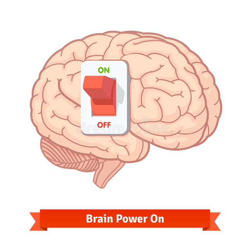 Brain power switch on. Strong mind concept vector illustration