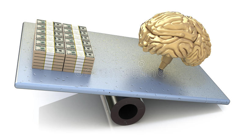 Brain price. intelligence outweighs the money stock illustration