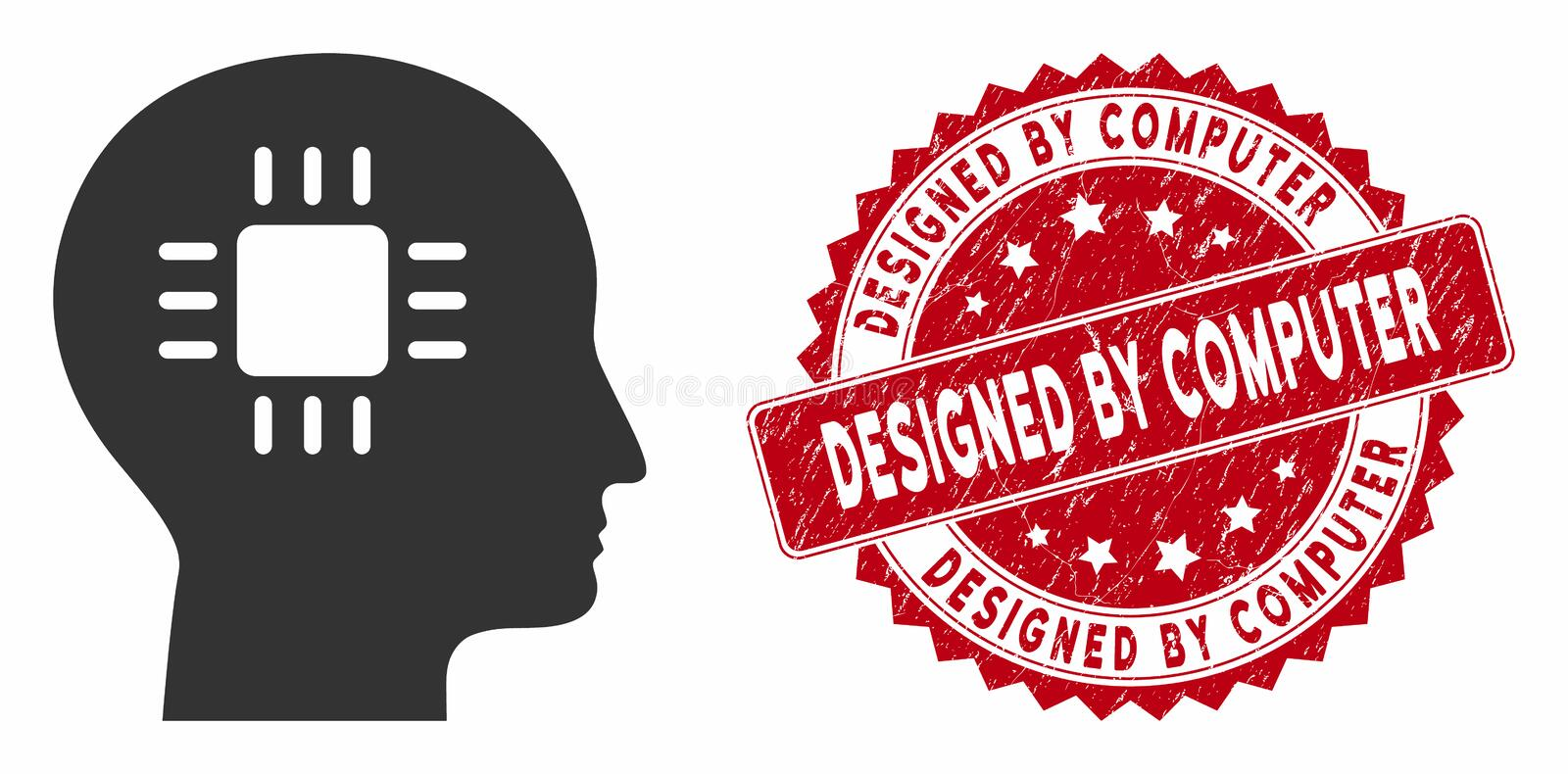 Brain Processor Icon with Grunge Designed by Computer Stamp vector illustration