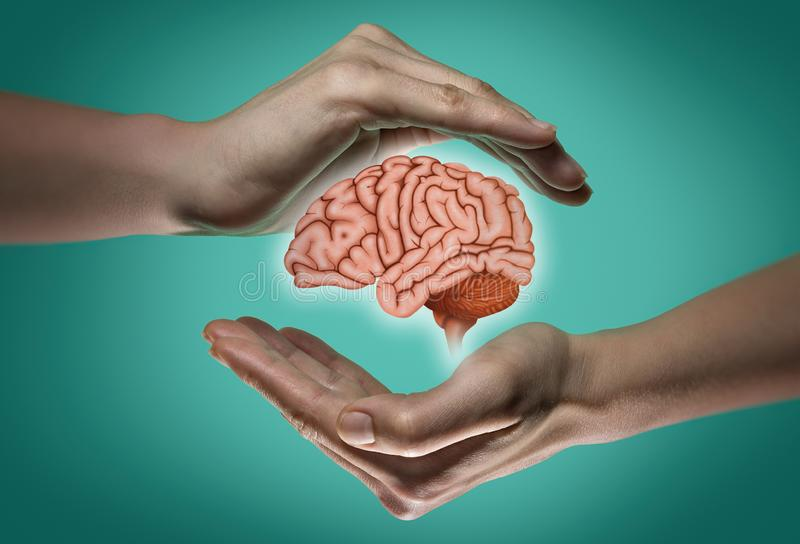 Brain protection and intellectual rights concept royalty free stock photography