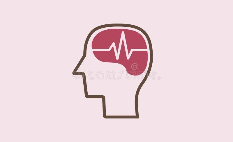 Brain Pulse Logo Symbol Design-Illustratie stock illustratie