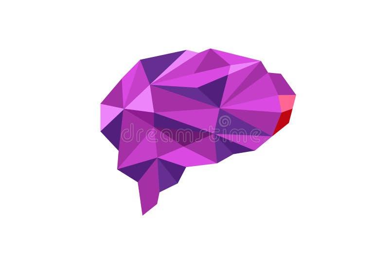 Brain Purple Polygonal Symbol Logo vektor illustrationer