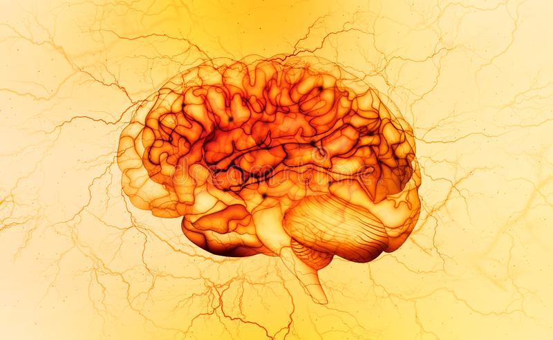 Brain X-ray, electrical impulse, brainstorming. Mind and intelligence of a person royalty free illustration