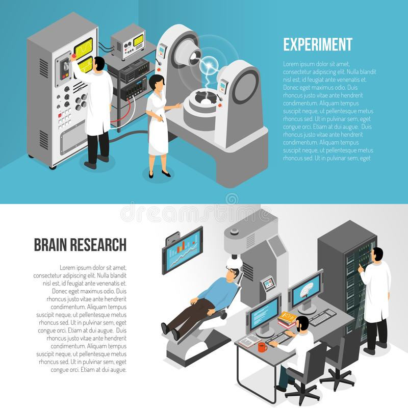 Brain Research Banners Set stock illustratie