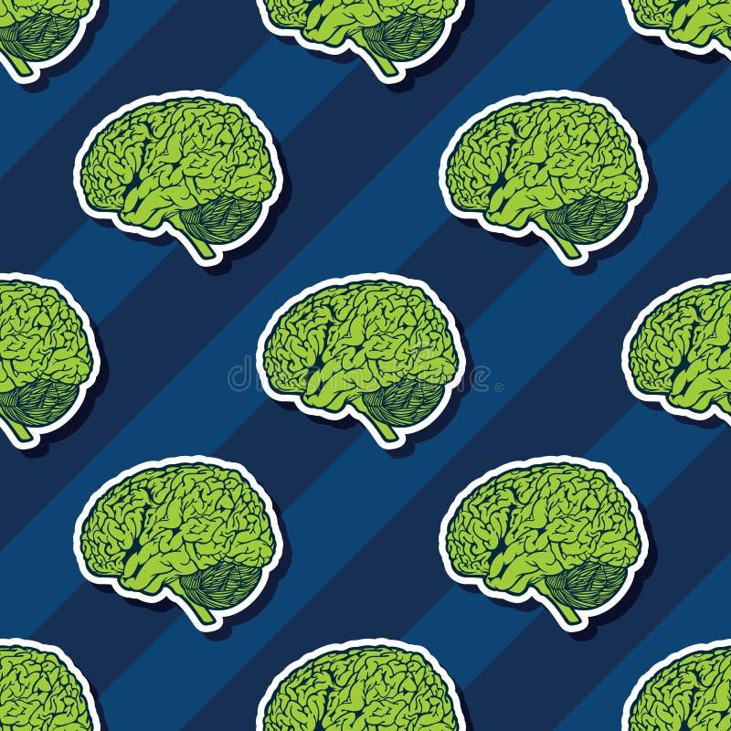 Brain Seamless Pattern Background verde de flutuação ilustração stock