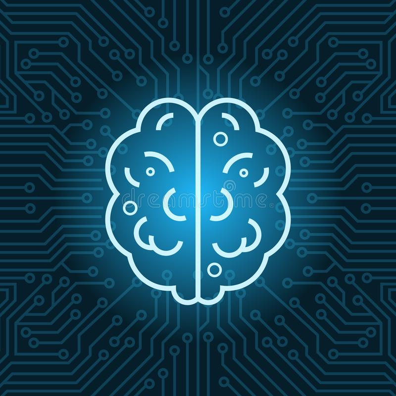 Brain Shape Icon Over Blue Circuit Motherboard Background Top View. Vector Illustration vector illustration