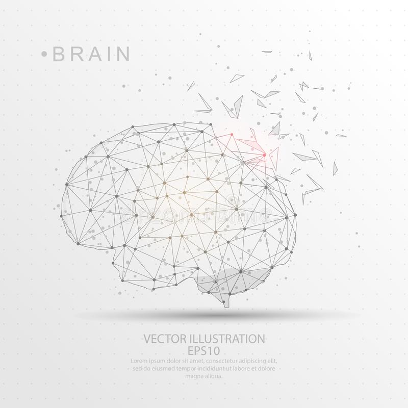 Brain shape digitally drawn low poly wire frame. Brain shape point, line and composition digitally drawn in the form of broken a part triangle shape and vector illustration