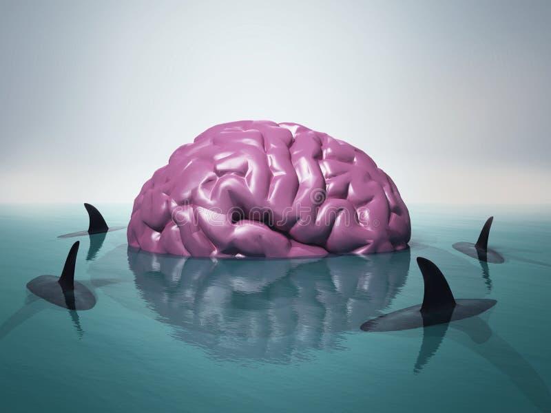 Brain sharks water vector illustration
