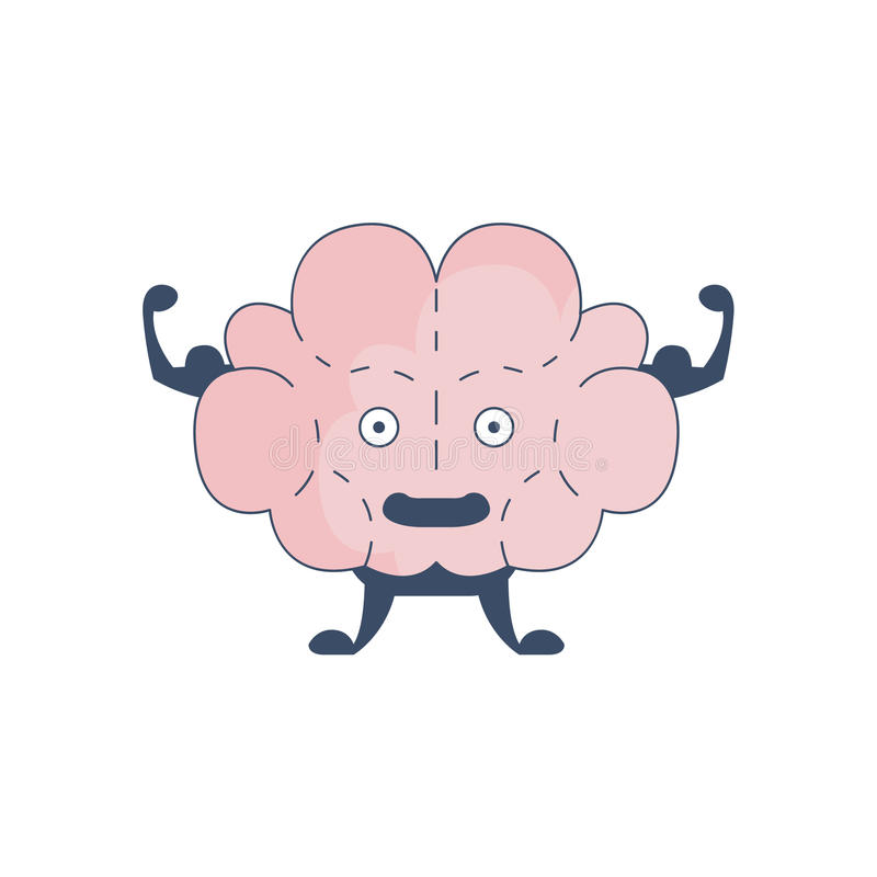 Brain Showing Strong Biceps Comic Character Representing Intellect And Intellectual Activities Of Human Mind Cartoon stock illustration