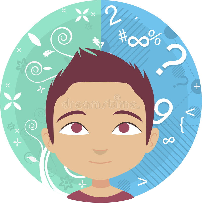 Brain sides boy. Vector illustration portraying the right and left side of the brain royalty free illustration