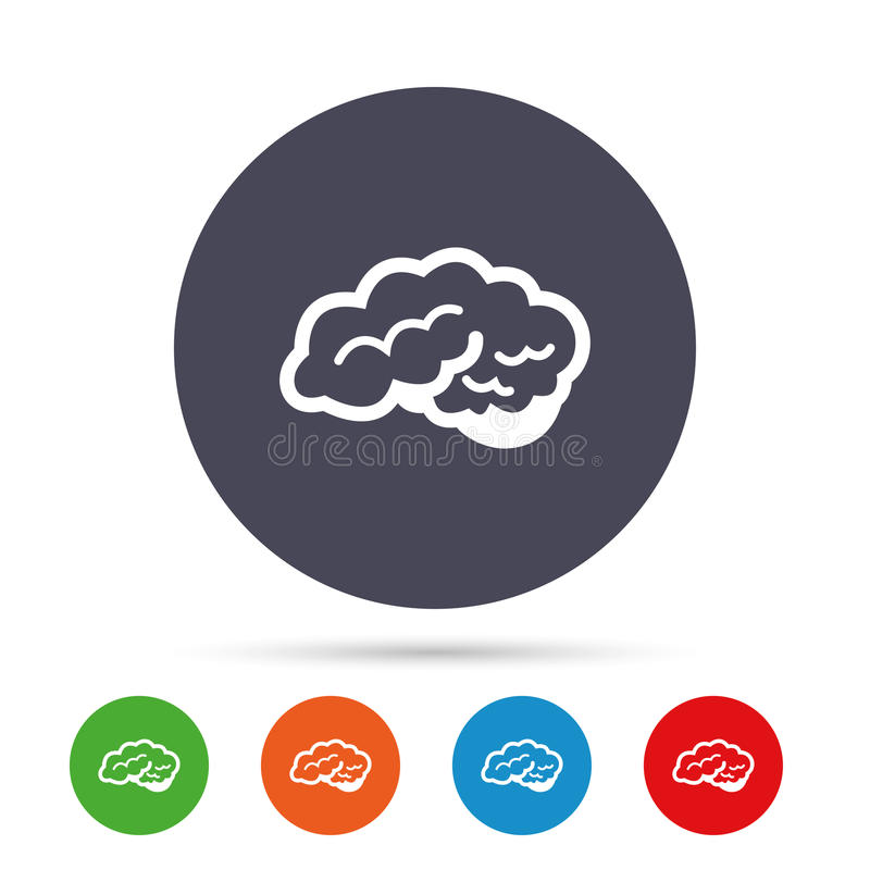 Brain sign icon. Intelligent smart mind. Brain with cerebellum sign icon. Human intelligent smart mind. Round colourful buttons with flat icons. Vector stock illustration