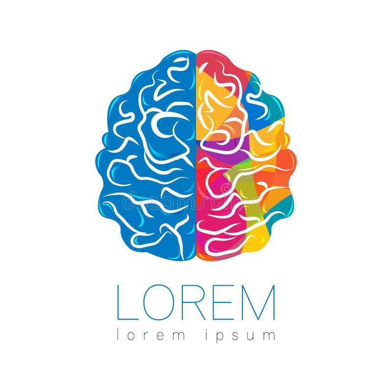 Brain Sign moderno humano Estilo creativo Ícone no vetor Conceito de projeto Empresa do tipo Cor brilhante do arco-íris da esquer ilustração stock
