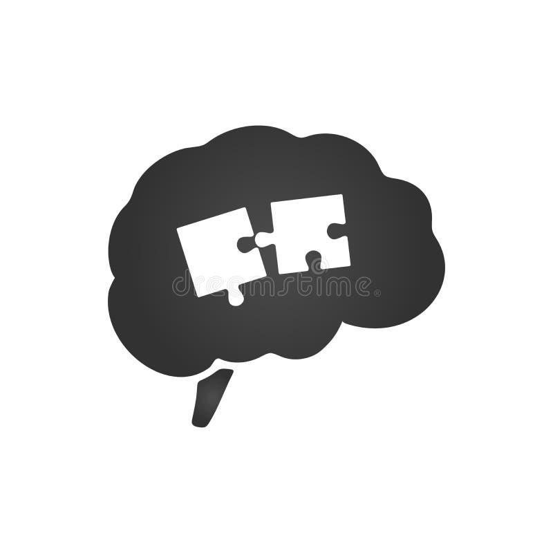Brain Silhouette avec deux morceaux de puzzle Cerveau de casse-tête Intellect, cerveau, pensée, tête, idée changez le puzzle faci illustration de vecteur