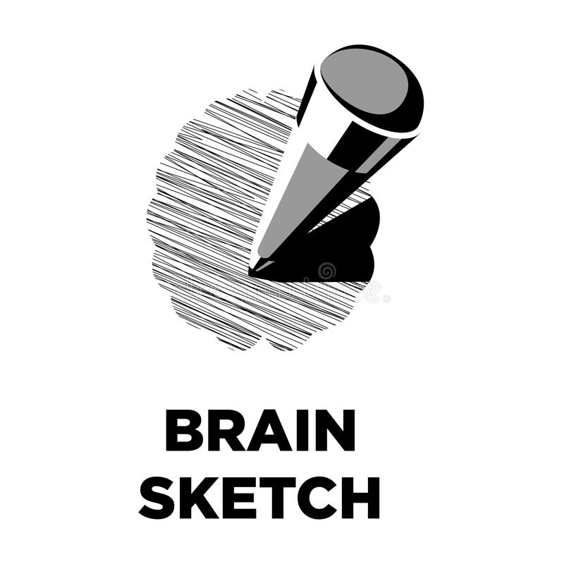 Brain sketch pencil creative icon. Smart intelligence concept vector template royalty free illustration