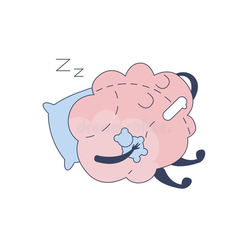 Brain Sleeping With Teddy Bear komiskt tecken som föreställer intellekt- och intellektuellaktiviteter av tecknade filmen för mäns royaltyfri illustrationer