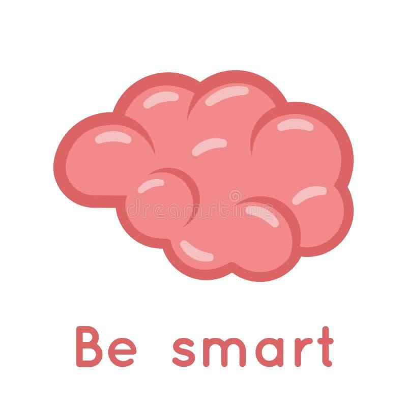 Brain Smart Logo Symbol Education Scientific Idea Solution Flat Design Vector Illustration royalty free illustration