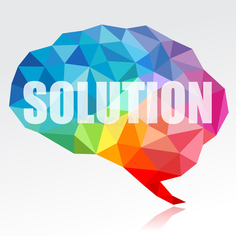 Brain and solution. Concept of brain and solution in modern triangular style stock illustration
