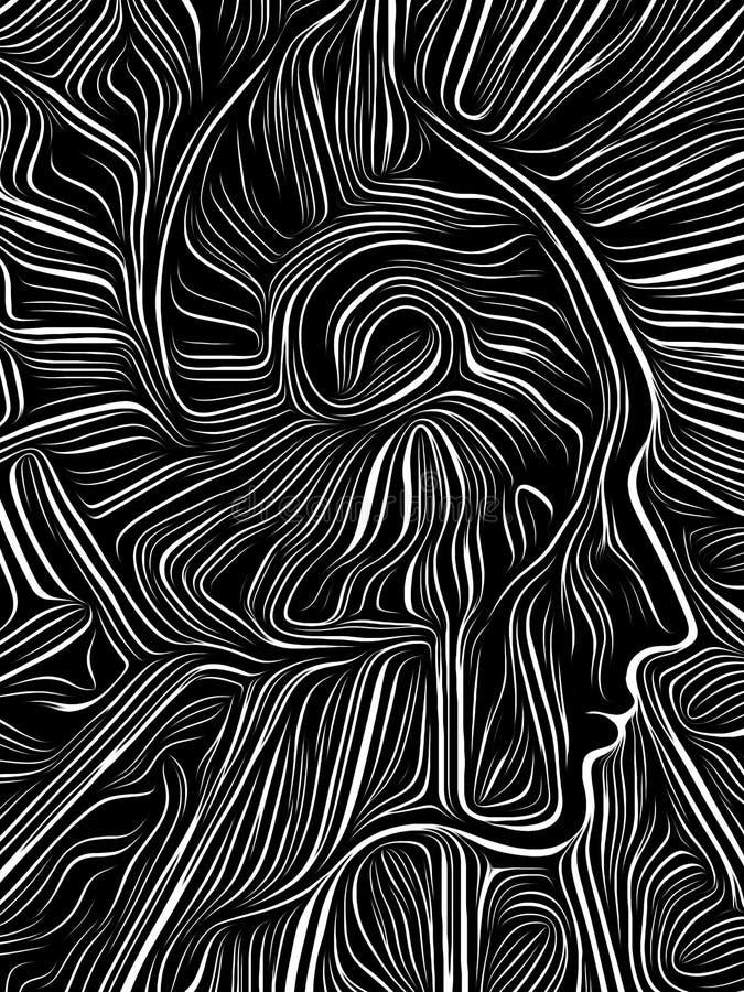 Brain Spiral Woodcut stock illustrationer