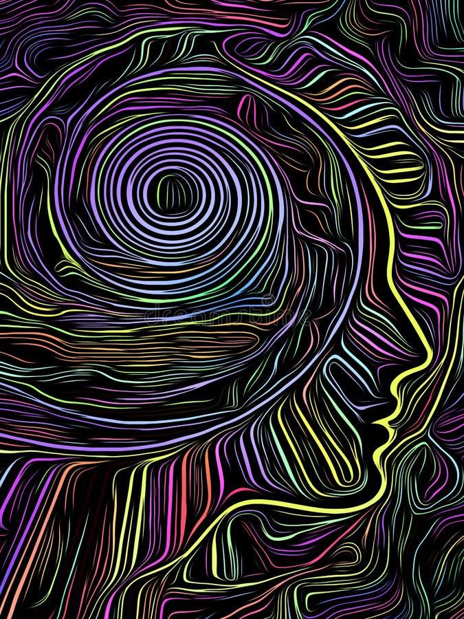 Brain Spiral Woodcut vektor illustrationer
