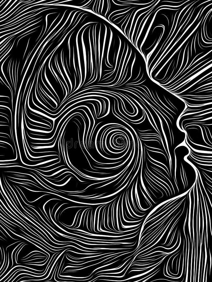 Brain Spiral Woodcut royaltyfri illustrationer