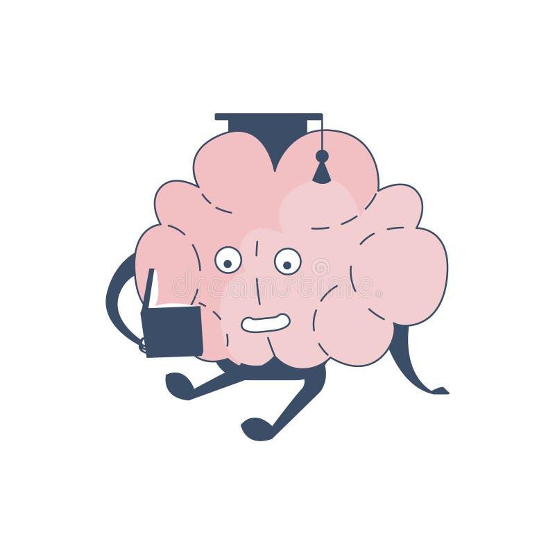 Brain In Square Hat Studying komiskt tecken som föreställer intellekt- och intellektuellaktiviteter av tecknade filmen för mänskl stock illustrationer