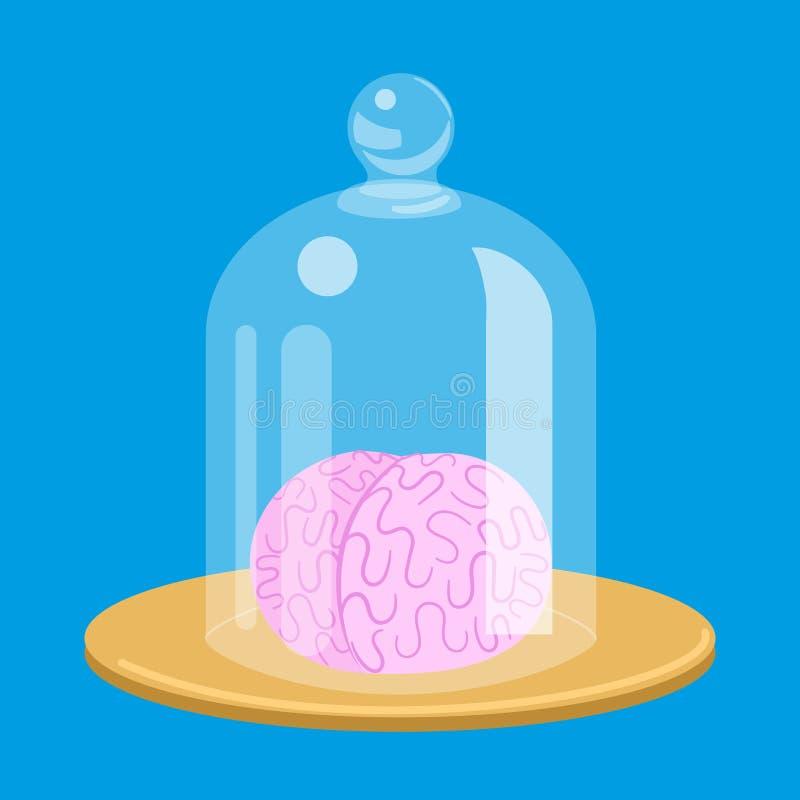 Brain standart under glass cover vector stock illustration
