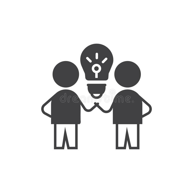 Brain Storm ?cone da ideia símbolo do sinal do vetor com de duas pessoas e o bulbo ilustração stock